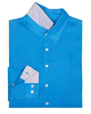 Mens designer Linen Shirt by Lotty B for Pink House Mustique in plain Turquoise Blue