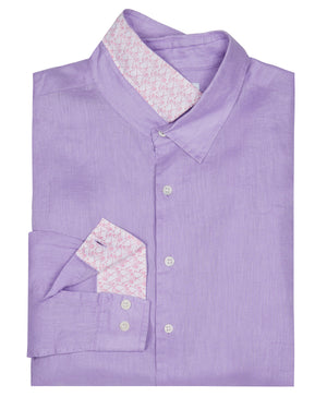 Mens designer Linen Shirt by Lotty B for Pink House Mustique in plain Violet