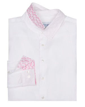 Mens designer Linen Shirt by Lotty B for Pink House Mustique in plain Classic White