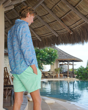 Mens pure linen shirt in Whale print blue by Lotty B Mustique resortwear
