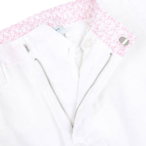 Mens Linen Shorts in classic white designer Lotty B for Pink House Mustique fastening detail