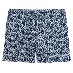 Mens swim trunks : BANANA TREE - NAVY designer Lotty B for Pink House Mustique back detail