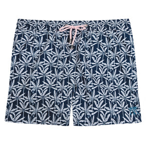 Mens swim trunks : BANANA TREE - NAVY designer Lotty B for Pink House Mustique