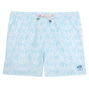 Mens swim trunks : BANANA TREE - PALE BLUE designer Lotty B for Pink House Mustique