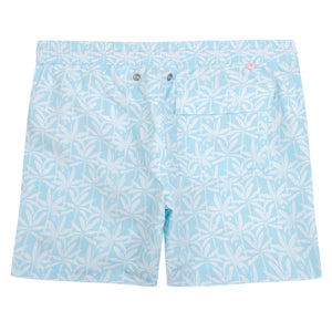 Mens swim trunks : BANANA TREE - PALE BLUE designer Lotty B for Pink House Mustique back detail