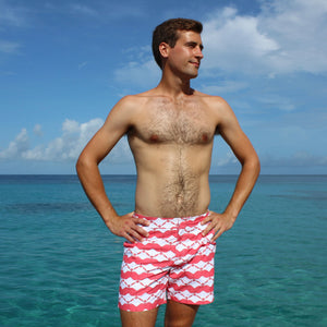 Mens Beach Shorts : MANTA RAY - RED Resort wear by Lotty B Mustique