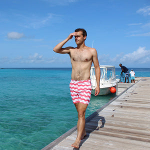 Mens Beach Shorts : MANTA RAY - RED Mustique lifestyle