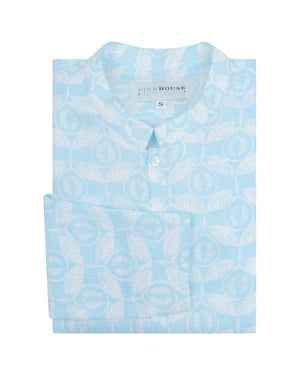 Mens Collarless Linen Shirt Guava pale blue designed by Lotty B Mustique Caribbean inspired Resort wear