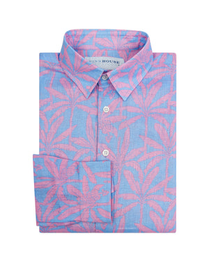 Mens Linen Shirt : BANANA TREE - PINK designer Lotty B Mustique