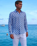 Mens Linen Shirt : MANTA RAY - NAVY Mustique life