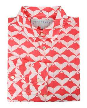 Mens Linen Shirt : MANTA RAY - RED