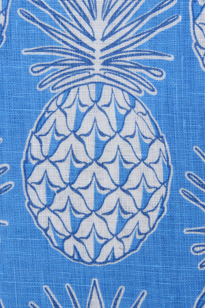 Womens Linen Flared Dress: PINEAPPLE BLUE swatch