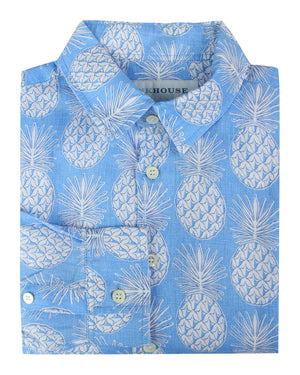 Mens Linen Shirt : PINEAPPLE - BLUE