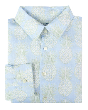 Mens Linen Shirt : PINEAPPLE - OLIVE