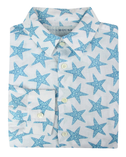Mens Linen Shirt : SEASTAR - BLUE