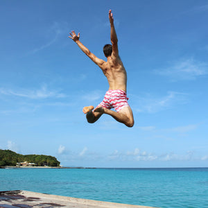 Mens Beach Shorts : MANTA RAY - RED Pink House Mustique style