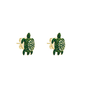 Stud earrings - Swarovski Crystal in Shining Green; pale gold plating; brass; post back; designed by Catherine Prevost for Atelier Swarovski