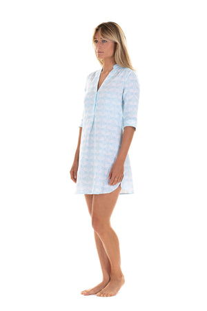 Womens flared Decima dress in pale blue Guava print, resort wear by Lotty B Mustique