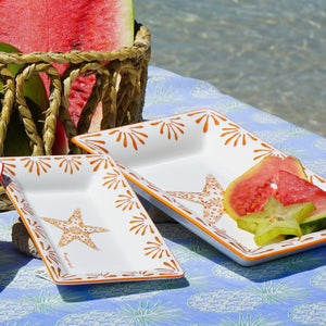 Fine Bone China Tray : SEASTAR - ORANGE designer Lotty B Mustique. Build your collection
