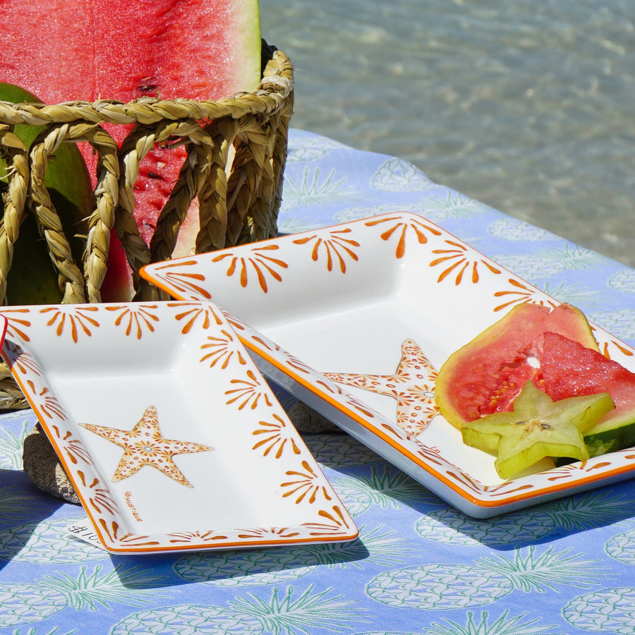 Fine Bone China Tray : SEASTAR - ORANGE designer Lotty B Mustique - home & gifts