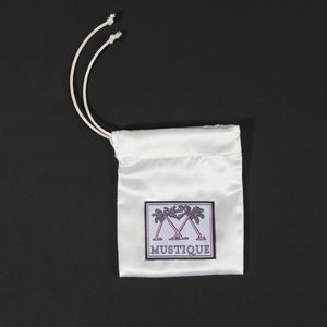 MINI Sterling Silver Mustique Island Pendant - Pink House Mustique silk bag