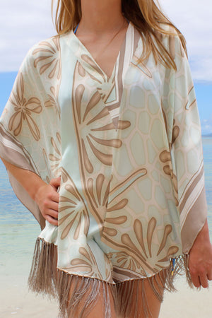 Lotty B Poncho in Charmeuse Silk (Sand Dollar Taupe)