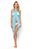 Lotty B Sarong in Chiffon, Egret (Blue) Front