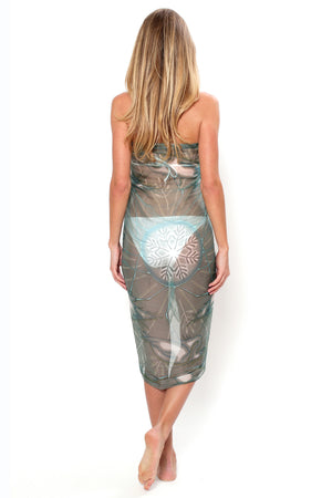 Lotty B Sarong in Chiffon, Egret (Lichen) Back