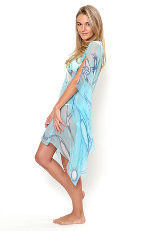 Lotty B Short Kaftan in Chiffon Silk, Egret design (Blue) Back