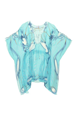 Lotty B Short Kaftan in Chiffon Silk, Egret design (Blue) Flat
