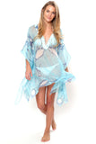 Lotty B Short Kaftan in Chiffon Silk, Egret design (Blue) Front