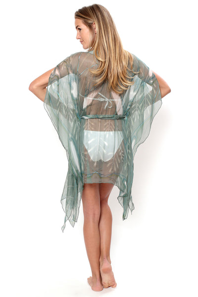 Lotty B Short Kaftan in Chiffon Silk, Egret design (Lichen) Back