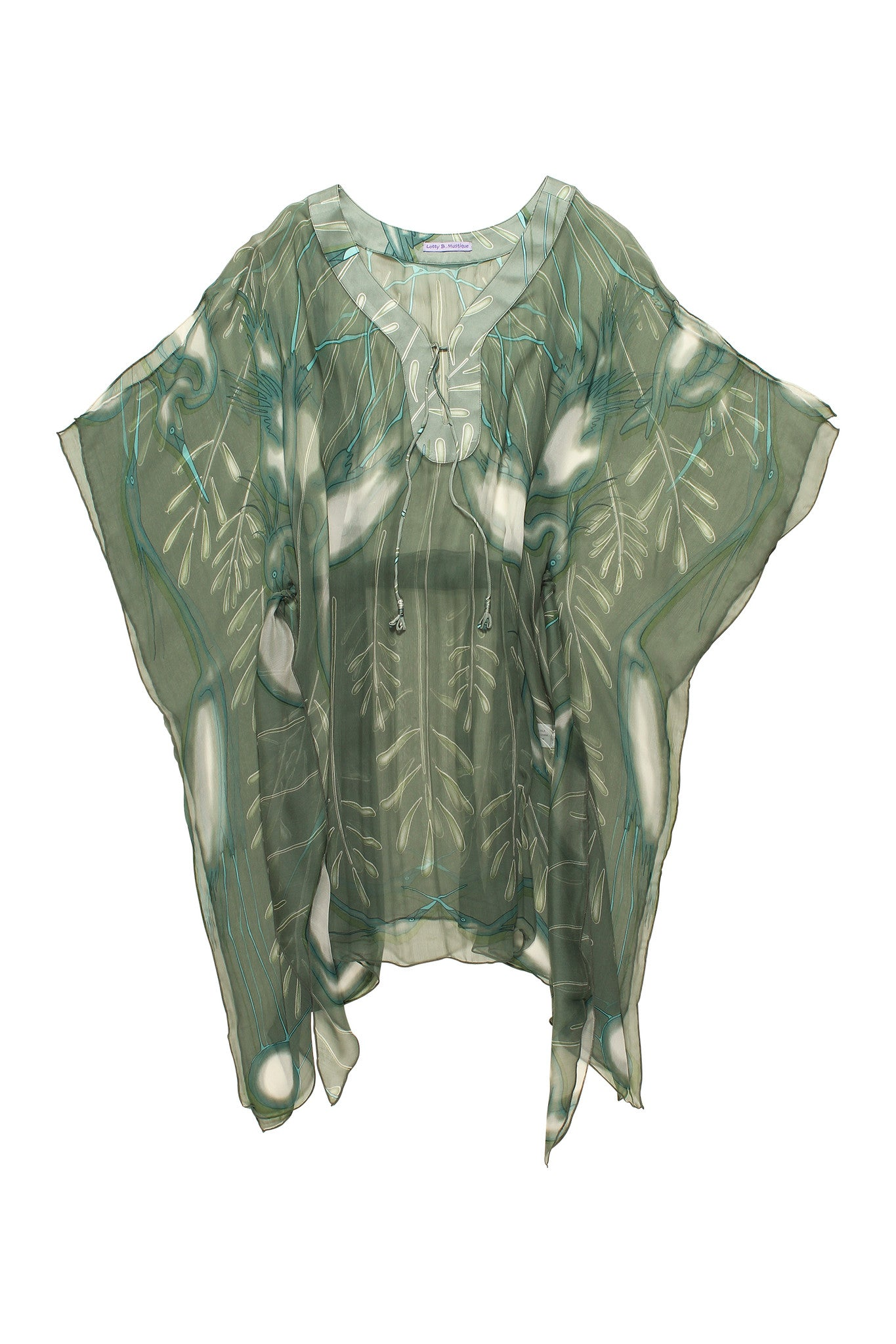 Lotty B Short Kaftan in Chiffon Silk, Egret design (Lichen) Flat