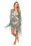 Lotty B Short Kaftan in Chiffon Silk, Egret design (Lichen) Front
