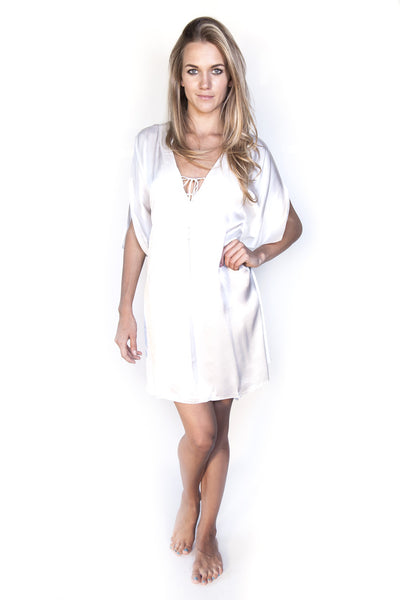 Lotty B Short Kaftan in Silk (Classic White)