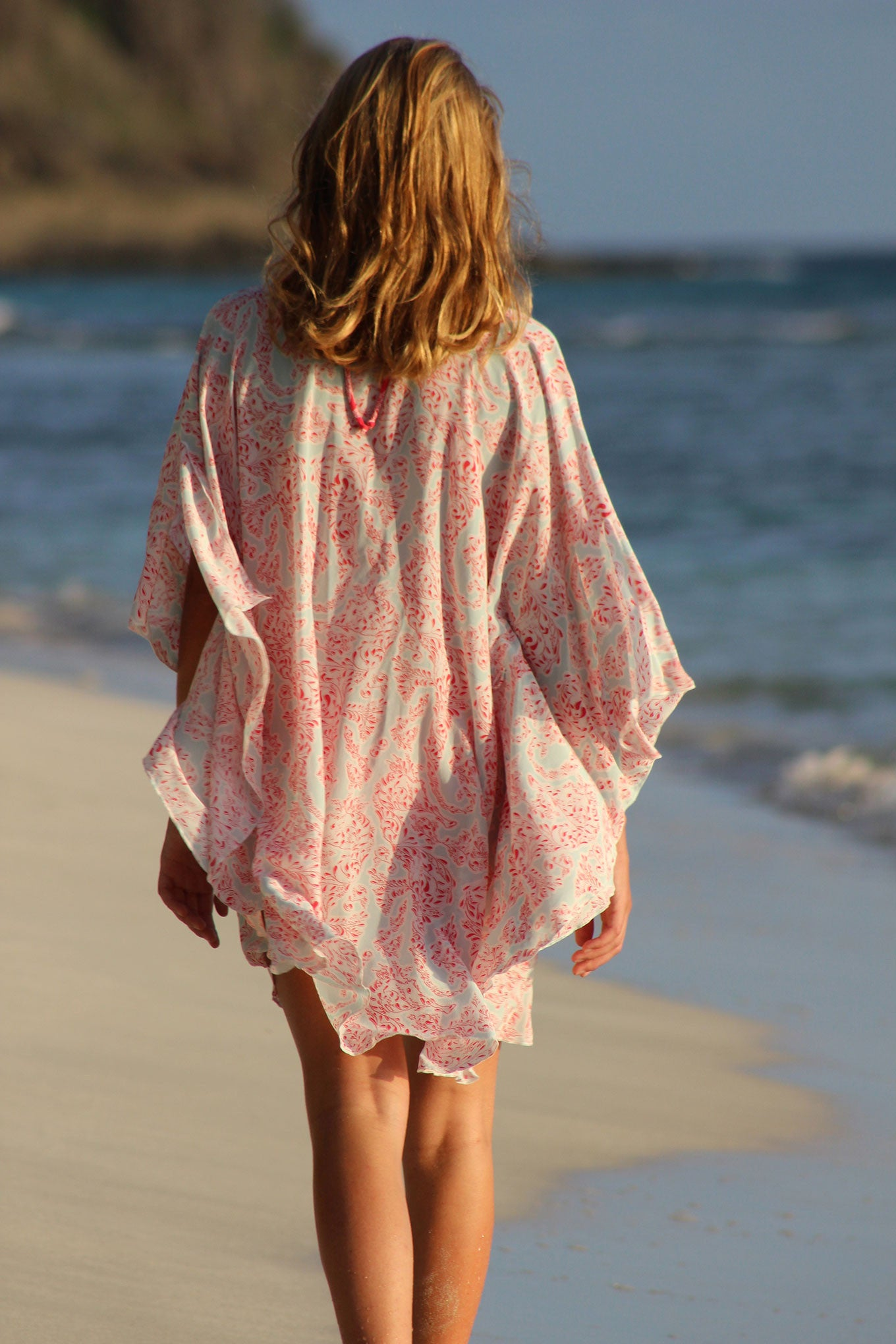 Lotty B Short Kaftan in Silk Crepe-de-Chine (Seahorse, Pink) Back