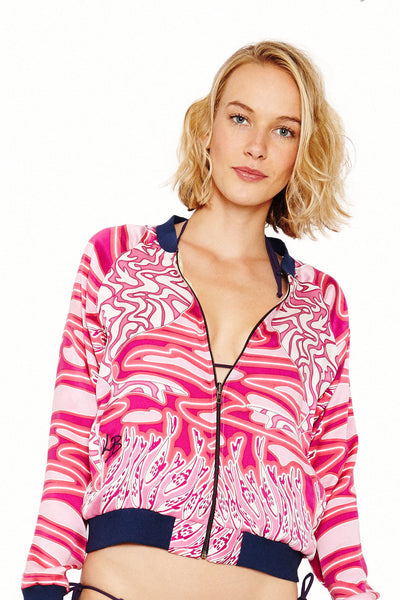 Lotty B Silk Bomber Jacket (Pelican/Bamboo Pink/Red) Front