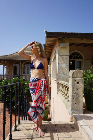 Sarong in Silk Crepe-de-Chine: FAN PALM - NAVY / RED Mustique cover-up