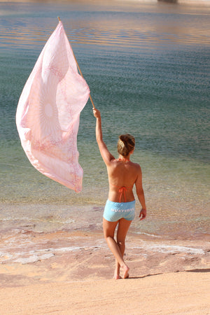 Lotty B Sarong in Silk Charmeuse (Spiderlily Peach Pink) designer Lotty B Mustique exclusive silk beach wear