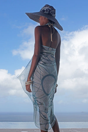 Lotty B Sarong in Chiffon (Egret Lichen) Back Mustique