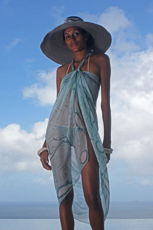 Lotty B Sarong in Chiffon (Egret Lichen) Front Mustique