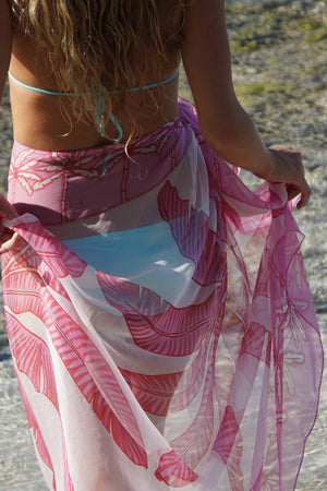 Transluscent silk sarong scarf in Banana Tree pink design by Lotty B Mustique luxury holiday style from the Pink House Mustique collections