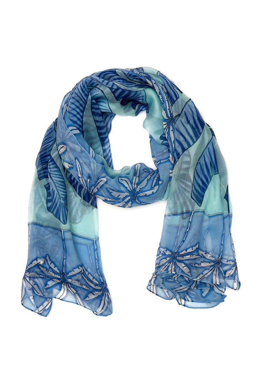 Large chiffon silk sarong scarf, Banana Tree print in blue designed by Lotty B Mustique style with a bikini and straw hat