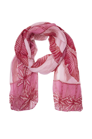 Chiffon silk scarf in Banana Tree pink design by Lotty B Mustique