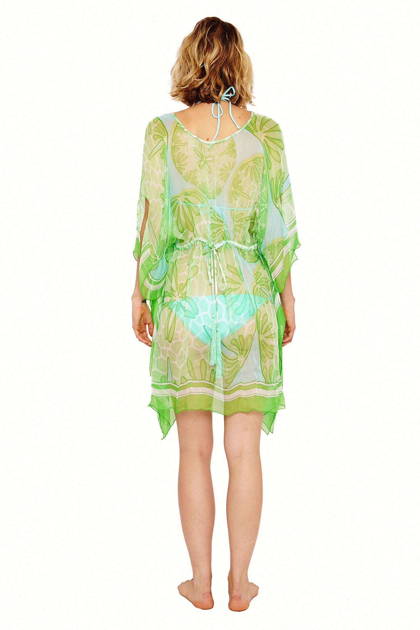 Lotty B Short Kaftan in Silk Chiffon (Sand Dollar Green) Back