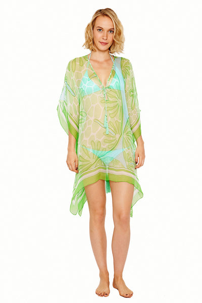 Lotty B Short Kaftan in Silk Chiffon (Sand Dollar Green) Front