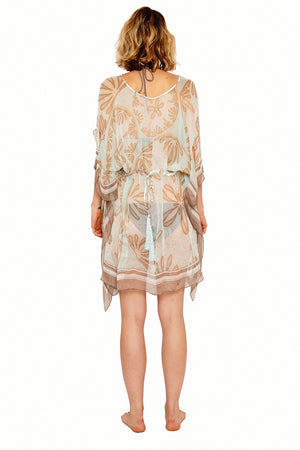 Lotty B Short Kaftan in Silk Chiffon (Sand Dollar Taupe) Back