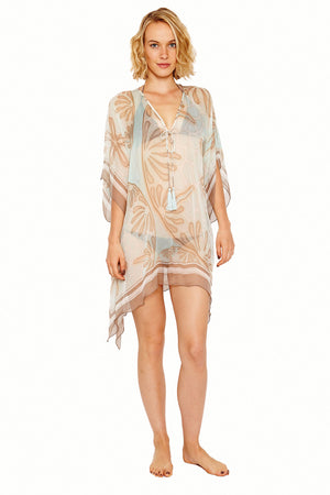 Lotty B Short Kaftan in Silk Chiffon (Sand Dollar Taupe) Front