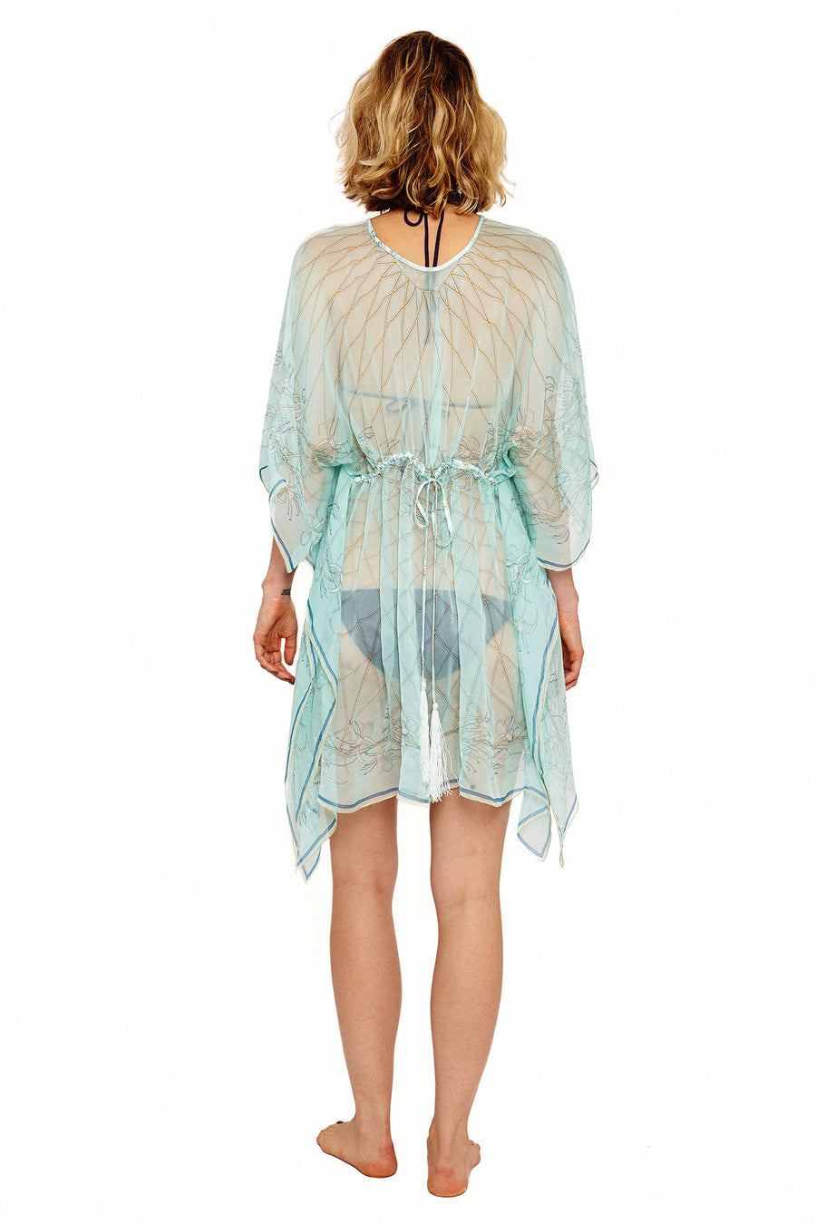 Lotty B Short Kaftan in Silk Chiffon (Spiderlily Pale Blue) Front