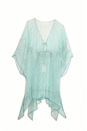 Lotty B Short Kaftan in Silk Chiffon (Spiderlily Pale Blue)